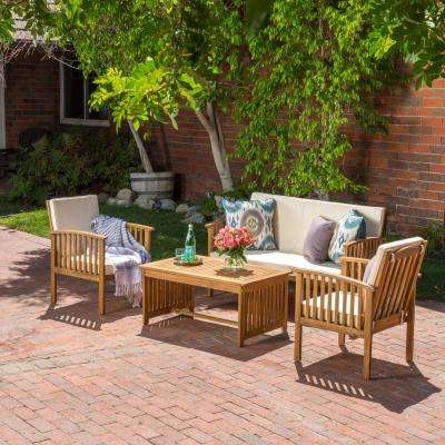 Carolina Brown 4-Piece Wood Patio Conversation Set with Beige Cushions