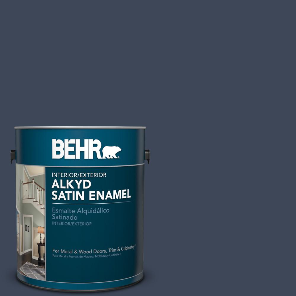 1 gal. #M500-7 Very Navy Satin Enamel Alkyd Interior/Exterior Paint