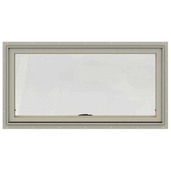 48 in. x 20 in. W-2500 Series Desert Sand Painted Clad Wood Awning Window w/ Natural Interior and Screen
