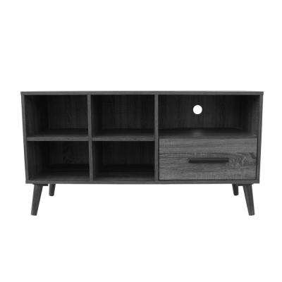 Oak Gray Wooden TV Console with Drawer and Shelves