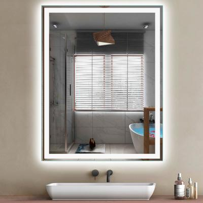 48 in. x 36 in. Modern Rectangle Shape Frameless LED Wall Mounted Mirror Dimmable Lighted Bathroom Mirror