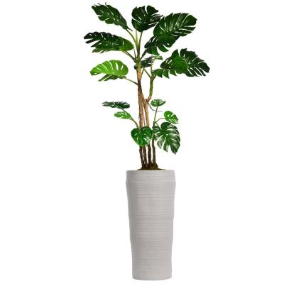 Laua Ashley 93 in. Tall Monstera Artificial Faux Home Decor with Burlap Kit and Fiberstone Planter