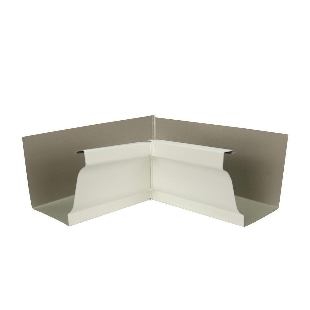6 in. Bone Linen Aluminum Inside Box Gutter Miter