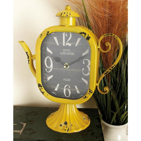 12 in. x 10 in. Multi Rounded Square Teapot Table Clocks (Set of 4)