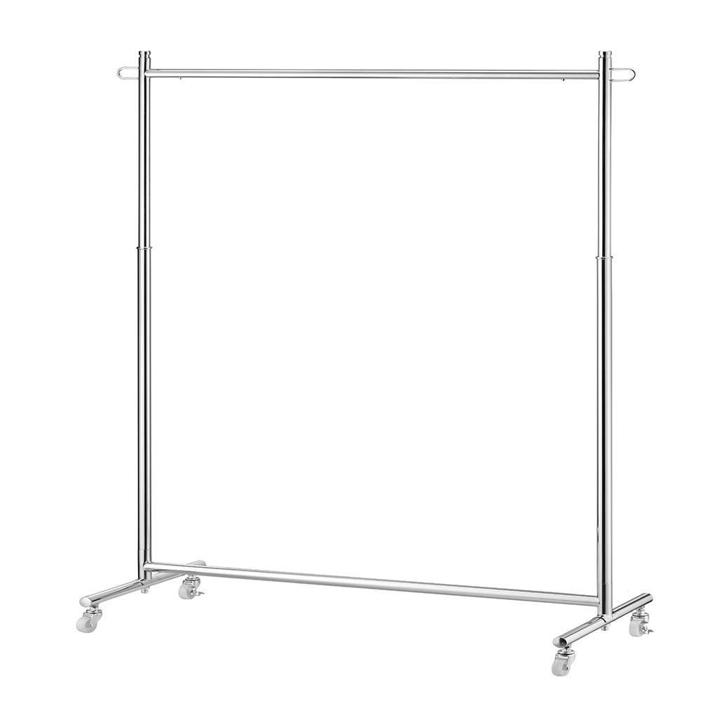Ore International 72.5 in. Chrome (Grey) Garment Rack on Wheels Professional duty garment rack for department stores and laundries. Excellent solution for hanging your clothing items. Whether you need them for seasonal clothing items, or to hang dry your clothes. Keeping your clothes organized, this rolling garment racks get the job done. Adjustable chrome garment rack fits perfectly in any space.