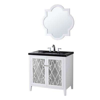 Evelyn 35 in. W x 21 in. D Vanity in White with Marble Vanity Top in Black with White Basin and Mirror