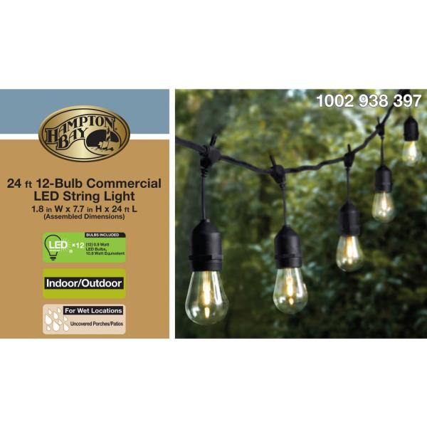 Hampton Bay 24 Ft 12 Light Filament Led String Light 10365 The Home Depot