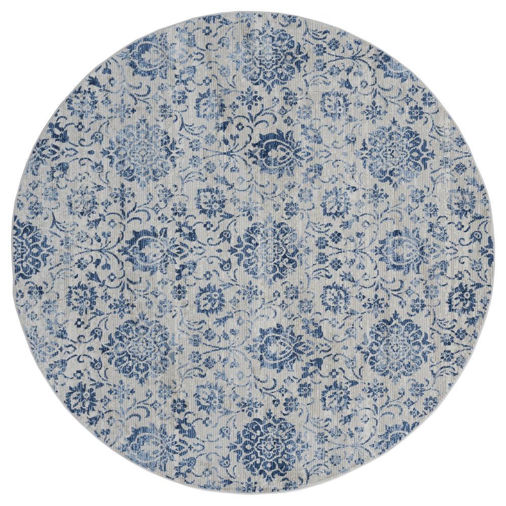 Clairmont Arish Denim Blue 7 ft. 10 in. x 7 ft. 10 in. Round Rug