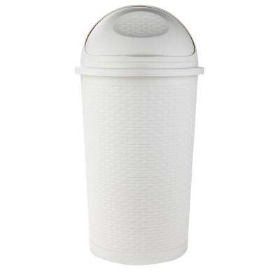Freestanding Rattan Trash Can with 55 l/14.5 Gal. Capacity in Ivory