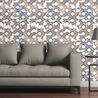 Geometric Copper and Navy by Circle Art Group Removable Wallpaper Panel