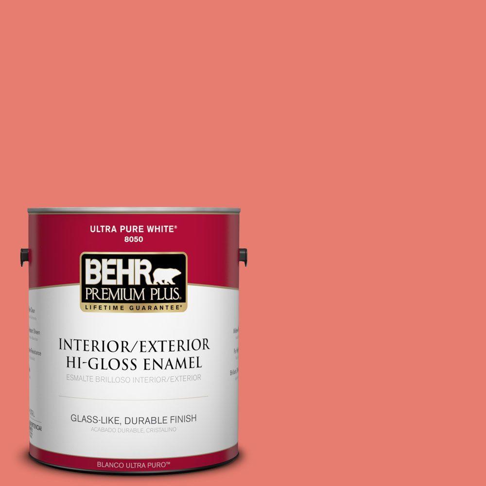 BEHR Premium Plus 1-gal. #HDC-SM14-12 Cosmic Coral Hi-Gloss Enamel Interior/Exterior Paint