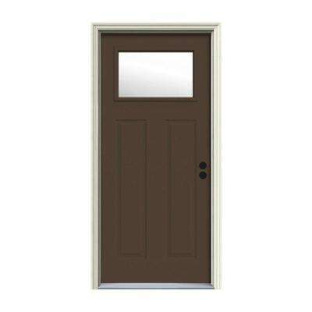 32 in. x 80 in. 1 Lite Craftsman Dark Chocolate Painted Steel Prehung Left-Hand Inswing Front Door w/Brickmould