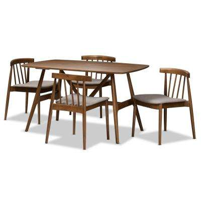 Wyatt 5-Piece Beige and Walnut Brown Dining Set