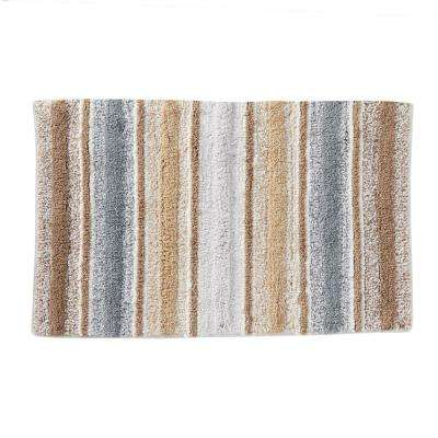 Natural 20 in. x 30 in. Cotton Water Stripe Bath Rug