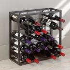Wine Enthusiast Steel 25-Bottle Stackable Grid in Black