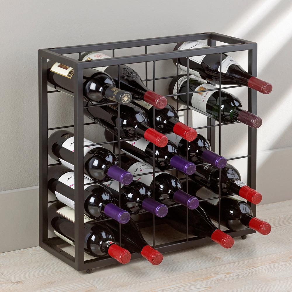 Steel 25-Bottle Stackable Grid in Black