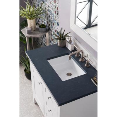 Palisades 36 in. Single Vanity in Bright White with Quartz Vanity Top in Charcoal Soapstone with White Basin