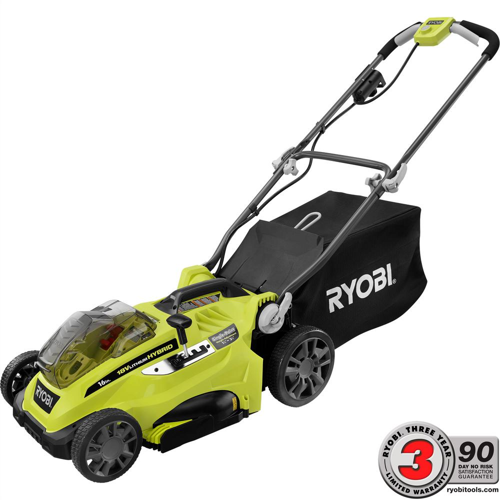 Ryobi 16 in. One+ 18-Volt Lithium-Ion Hybrid Battery Walk...
