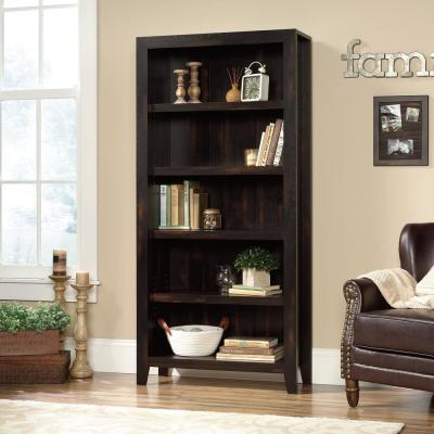 71.1 in. Char Pine Faux Wood 5-shelf Standard Bookcase with Adjustable Shelves
