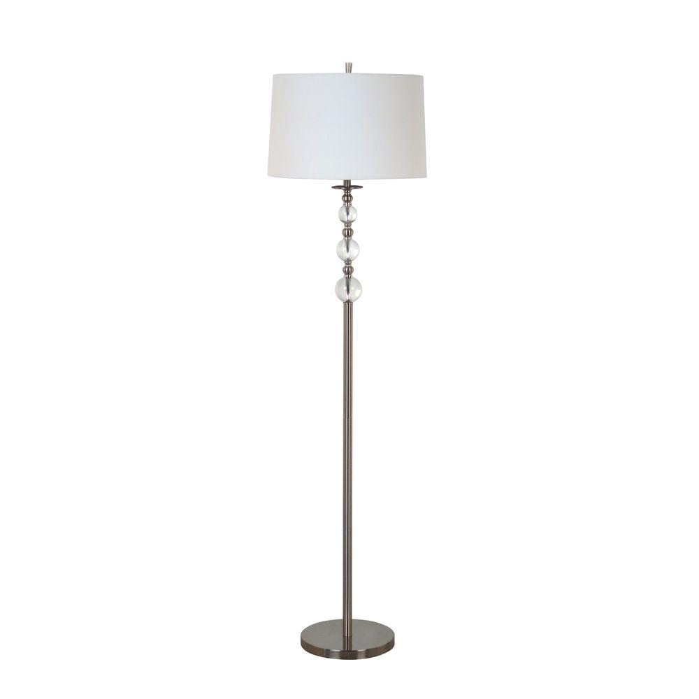Beautiful Brushed Nickel Floor Lamp With Clear Acrylic Balls And White Hardback  Shade 13 HD2008LF   The Home Depot