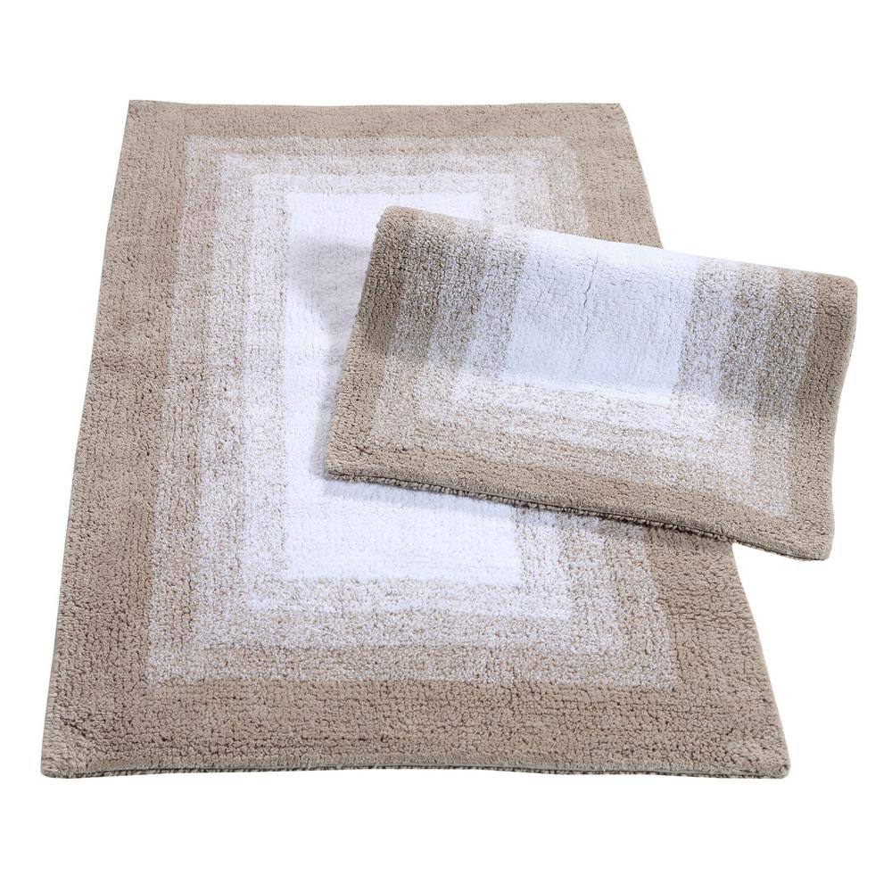 Whitney Ombre Reversible Doeskin Beige 21 in. x 34 in. 2-Piece