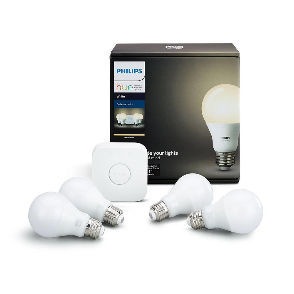 Philips Hue White A19 LED 60W Equivalent Dimmable Smart Wireless Lighting Starter Kit (4 Bulbs and Bridge)
