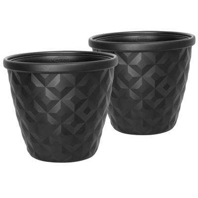 Pinehurst 16.2 in. Dia Black Resin Planter (2-Pack)