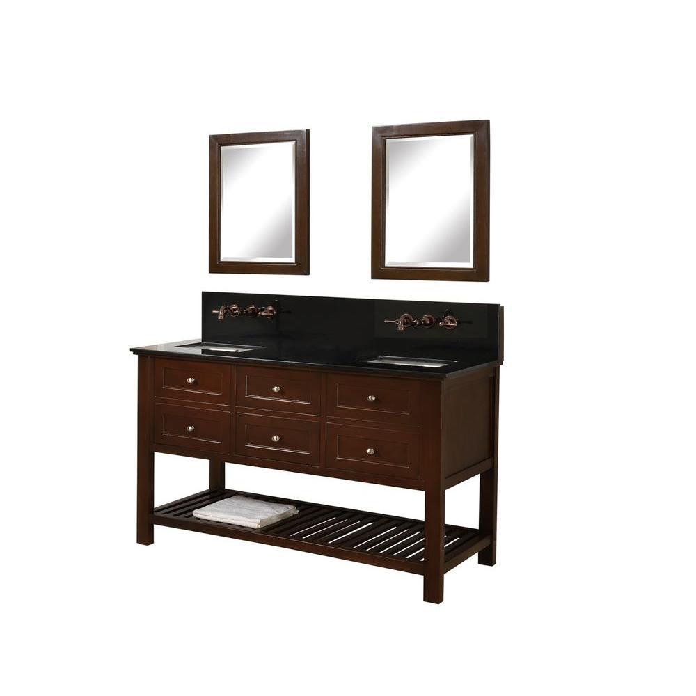 Direct vanity sink Mission Spa Premium 60 inch Double Vanity in Dark Brown with Granite Vanity Top in Black and Mirrors by Direct vanity sink