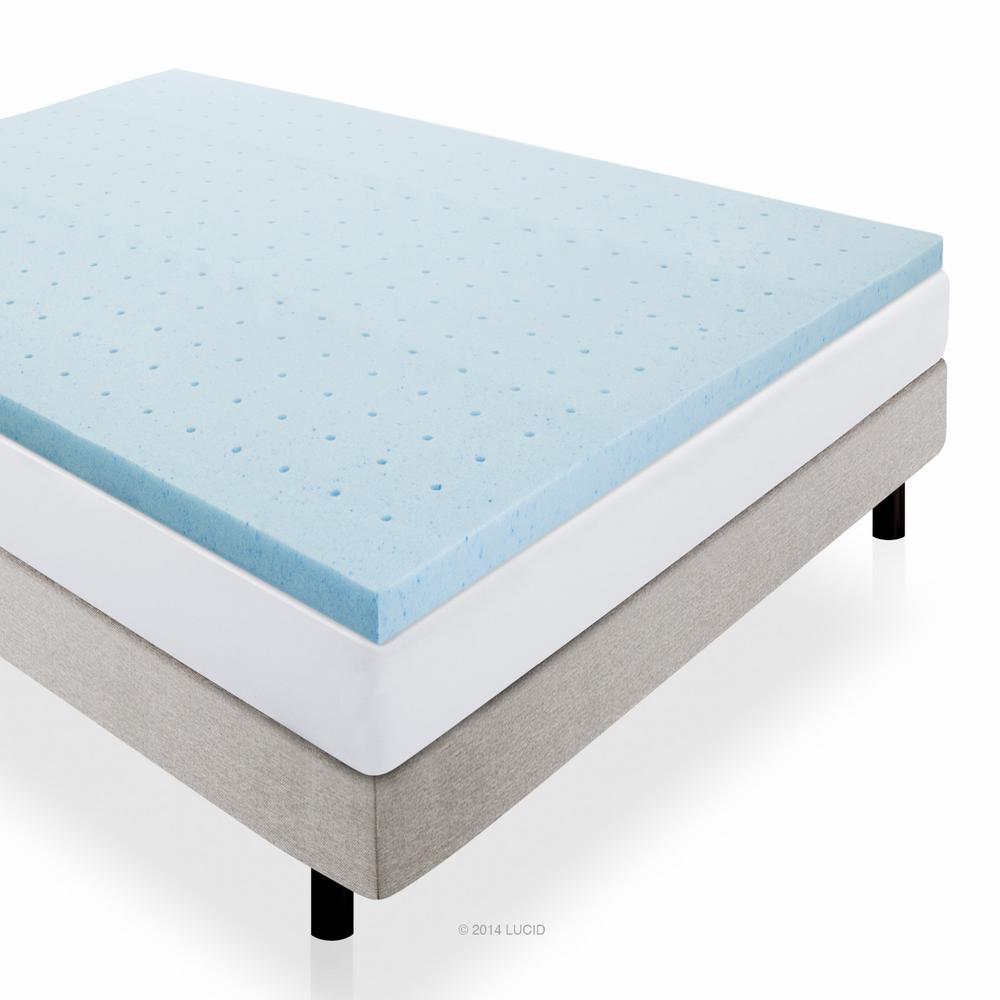 Lucid 2 in. King Gel Infused Memory Foam Mattress Pad, Blue