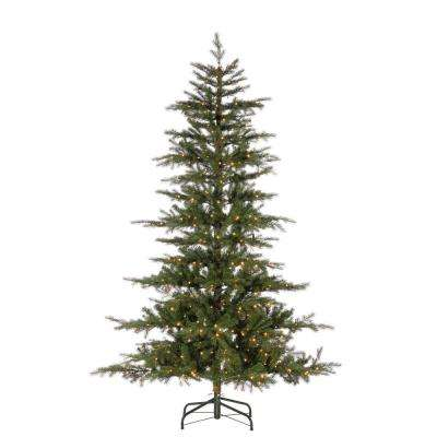 7.5 ft. Natural Cut Layered Timberland Pine Artificial Christmas Tree with 500 Warm White LED Micro Lights