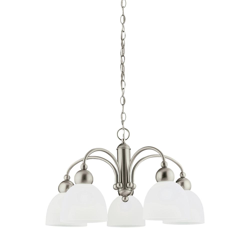 Metropolis 5-Light Brushed Nickel Chandelier with LED Bulbs