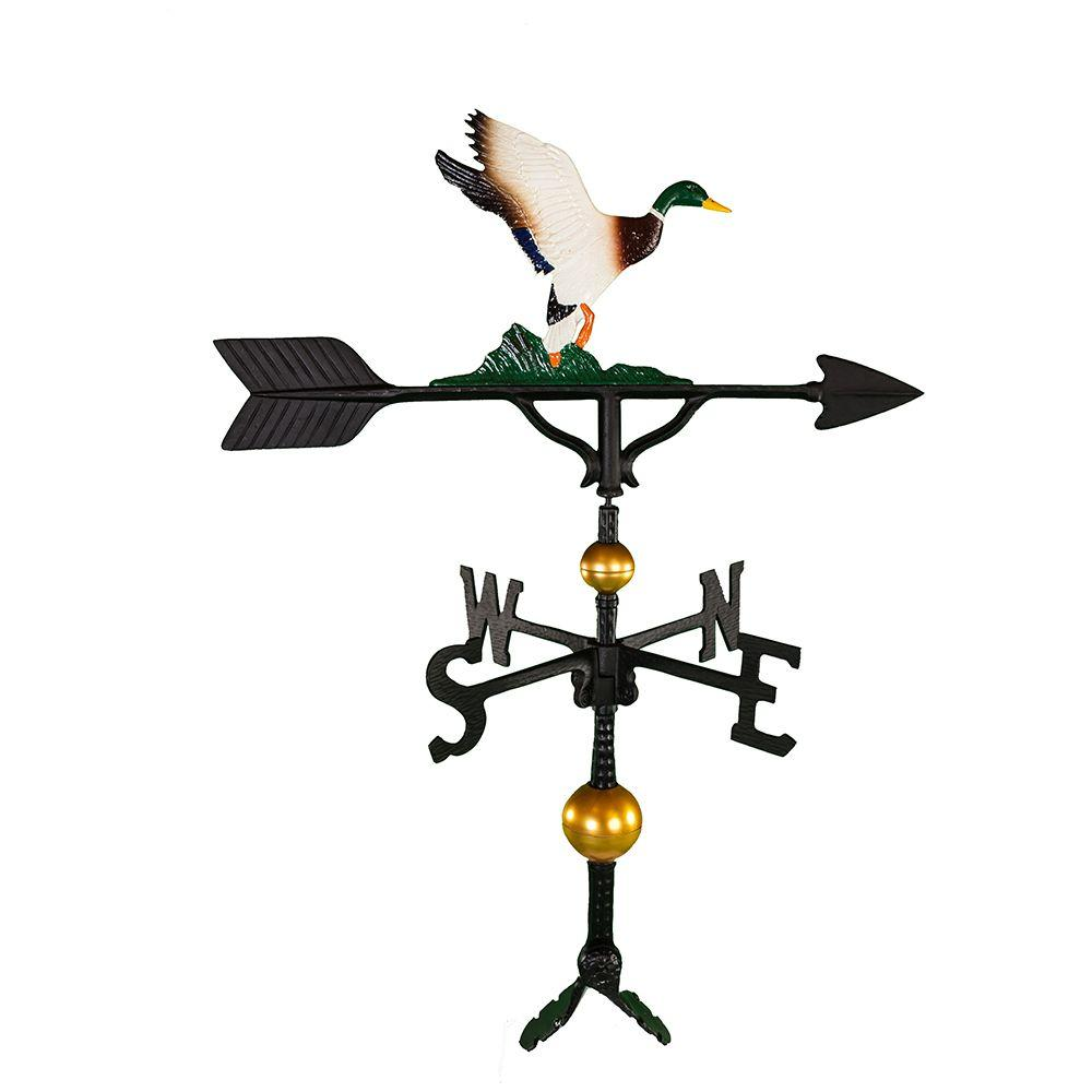 Montague Metal Products 32 in. Deluxe Black Duck Weathervane Montague Metal Products hand crafted weathervanes are of the highest quality. These fully functional weathervanes are cast of rust free aluminum and finished with weather resistant paint to insure a lifetime of enjoyment. The standard adjustable clutch base makes installation quite easy. Flat bases and threaded masts are also available as an additional option.