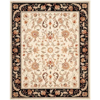 Easy Care Ivory/Navy 8 ft. x 10 ft. Area Rug