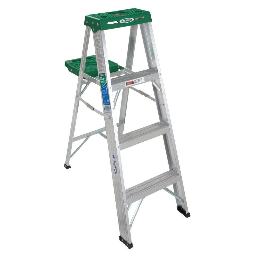 Werner 4 ft. Aluminum Step Ladder with 225 lb. Load Capacity Type II Duty Rating