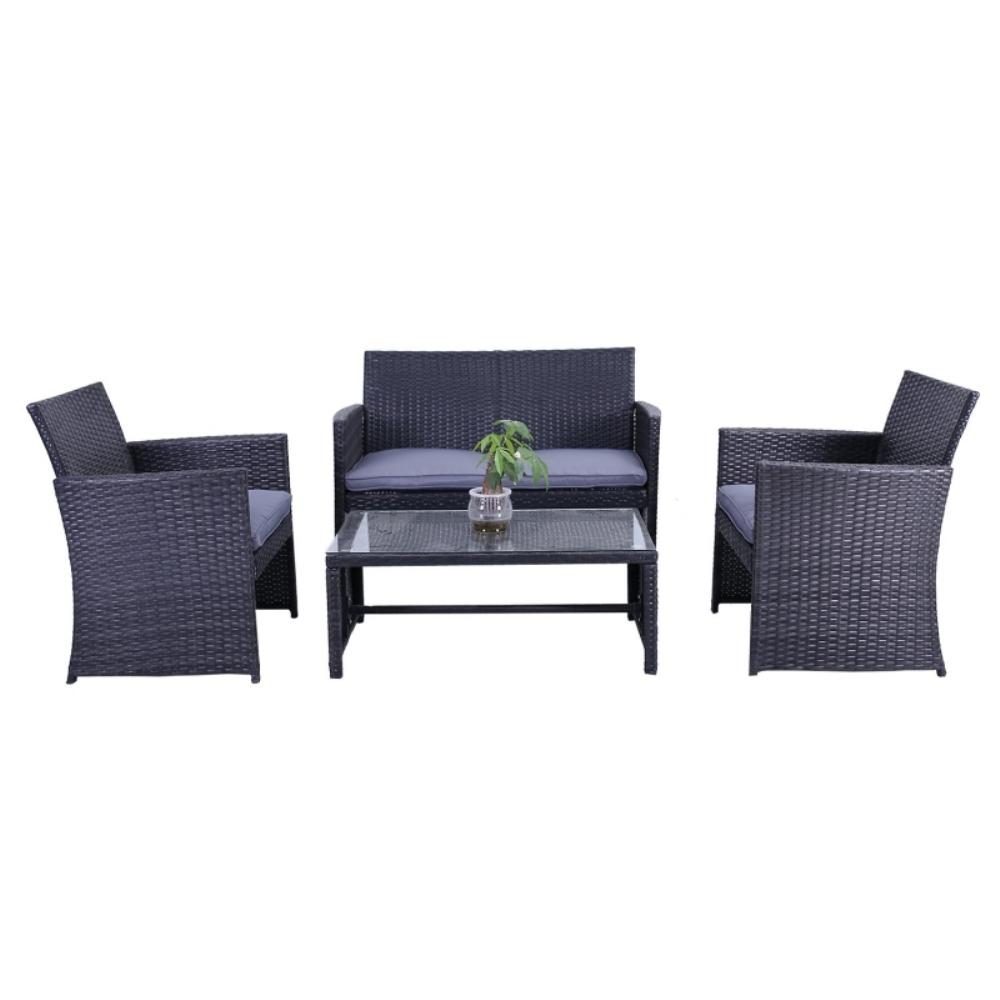 Manhattan 4 Piece Rattan Furniture Set In Black With Grey Cushions