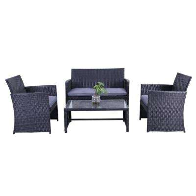 Manhattan 4-Piece Rattan Furniture Set in Black with Grey Cushions