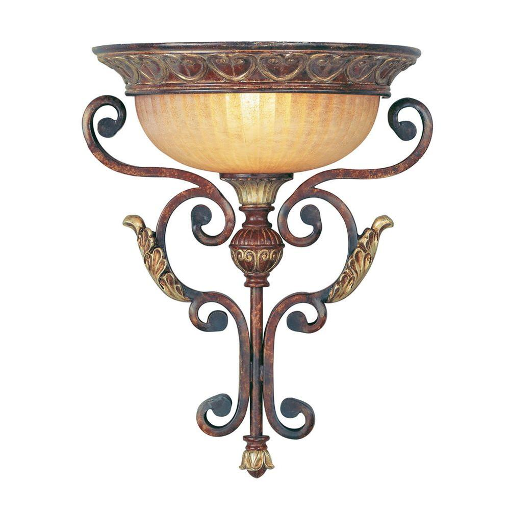 Providence 1-Light Verona Bronze with Aged Gold Leaf Accents Incandescent Wall