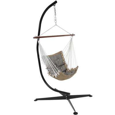 3.5 ft. Fabric Tufted Victorian Hammock with Stand in Gray