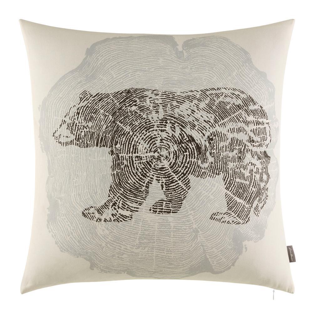 Crosscut Bear 20 in. Grey Standard Throw Pillow