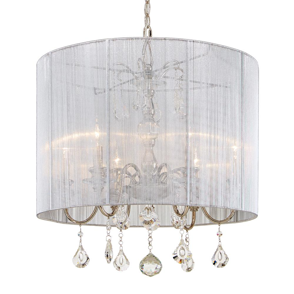 Home Decorators Collection St. Lorynne 6-Light Polished Nickel Pendant with Silver String Shade