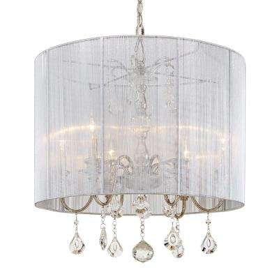 St. Lorynne 6-Light Polished Nickel Pendant with Silver String Shade