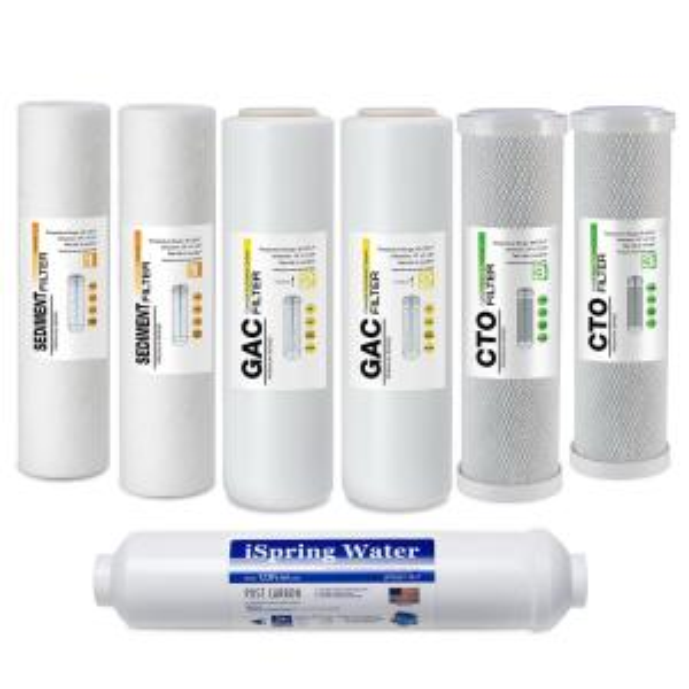 iSpring 7PK-GAC F7-GAC Filter Replacement Supply Set for 5-Stage Reverse Osmosis
