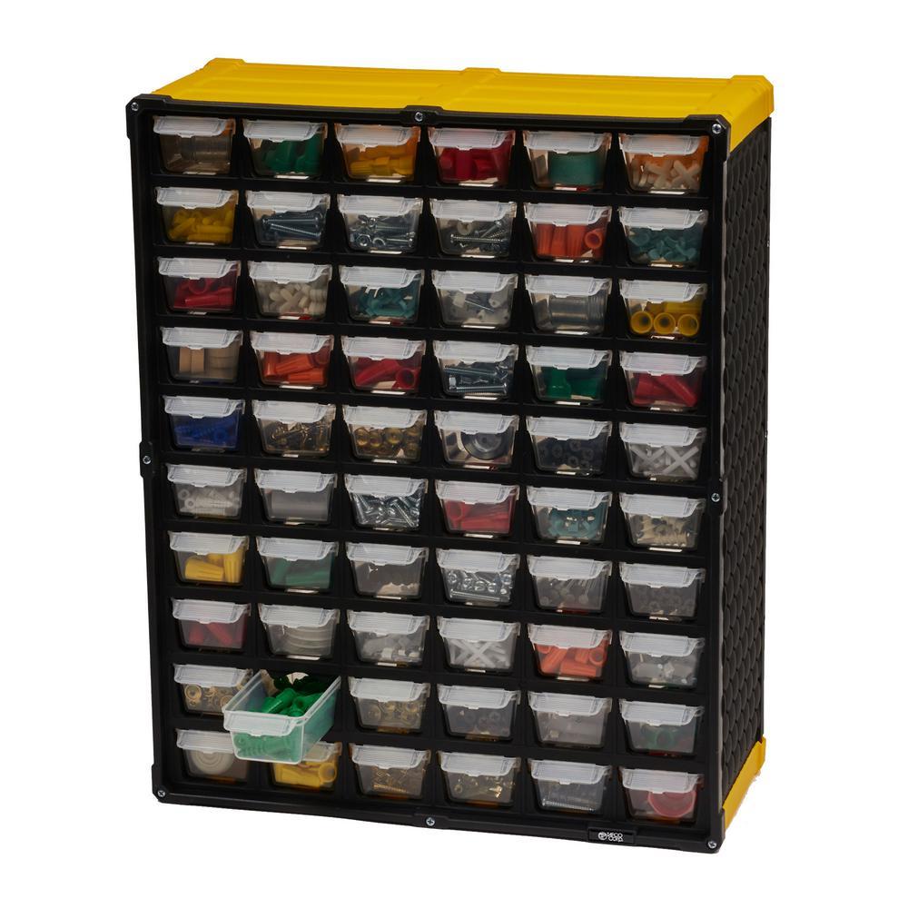60-Compartment Small Parts Organizer, Yellow