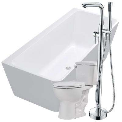 Strait 67 in. Acrylic Flatbottom Non-Whirlpool Bathtub in White with Sens Faucet and Cavalier 1.28 GPF Toilet