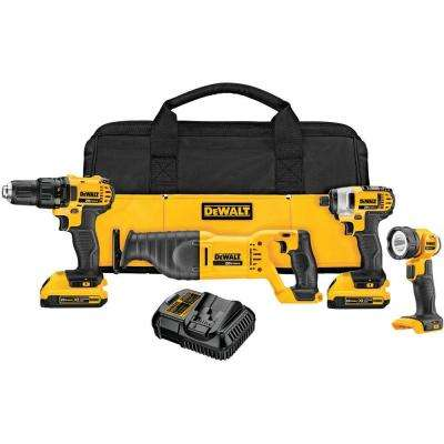 20-Volt MAX Lithium-Ion Cordless Combo Kit (4-Tool) with (2) Batteries 2Ah, Charger and Contractor Bag