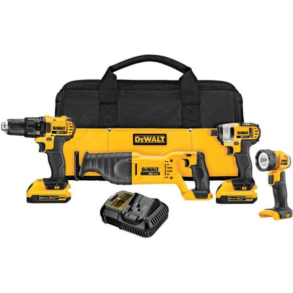 DEWALT 20-Volt MAX Lithium-Ion Cordless Combo Kit (4-Tool) with (2) Batteries 2.0Ah, Charger and Tool Bag