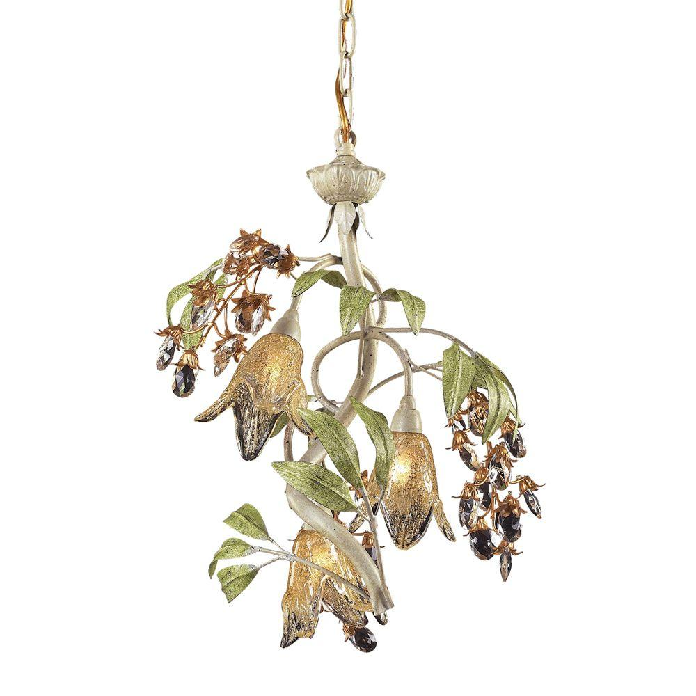 Titan Lighting Huarco 3-Light Seashell And Green Small Chandelier With Amber Glass Flower Shades