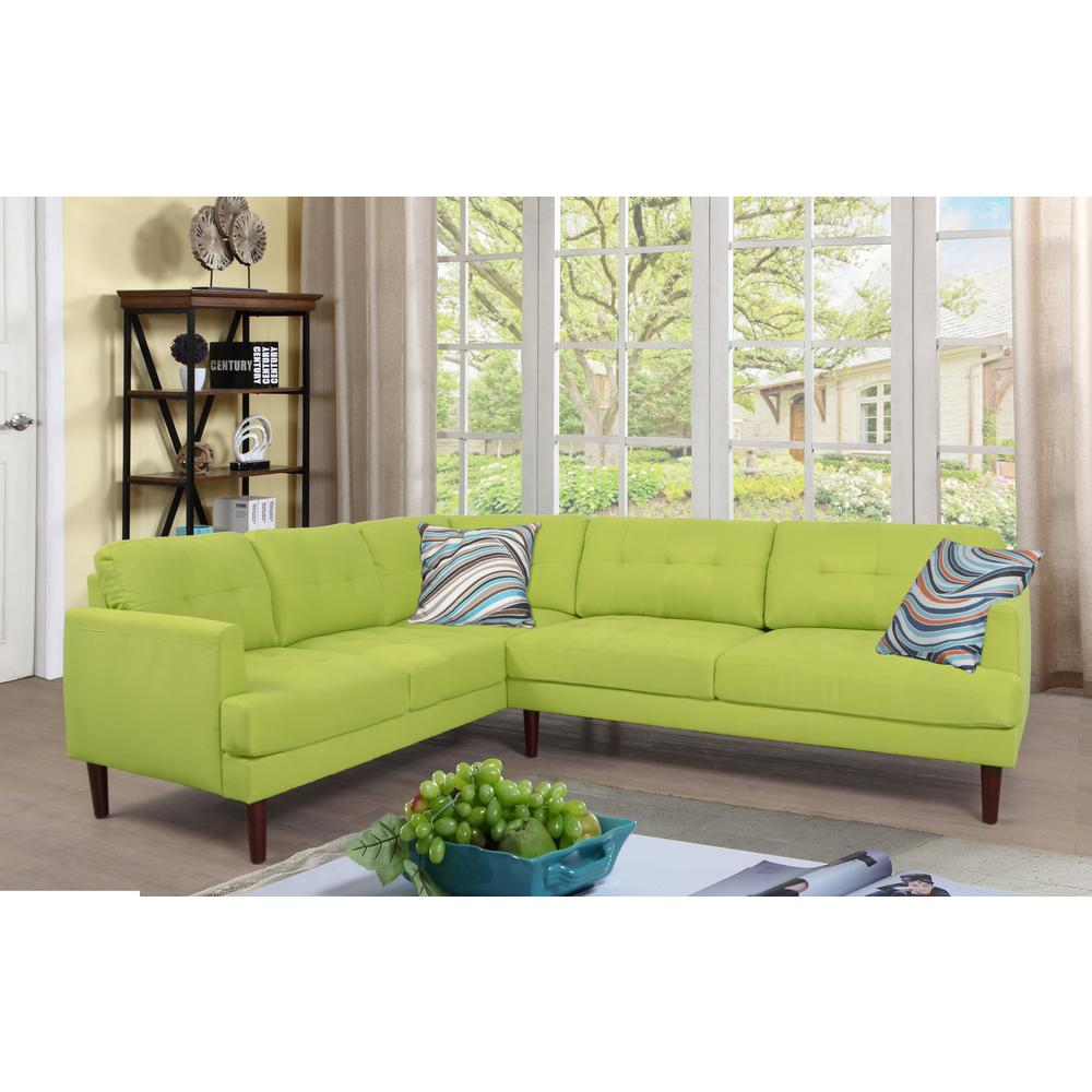Green tufted left sectional sofa set 2 piece sh5004b the home depot