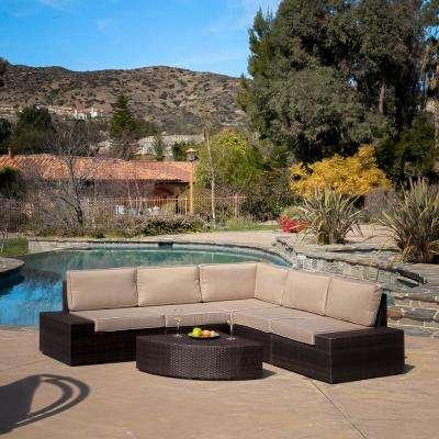 Santa Cruz Dark Brown 6-Piece Wicker Outdoor Sectional Set with Beige Cushions