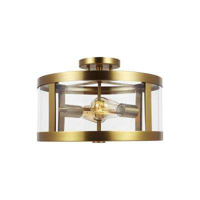 Harrow 15 in. 2-Light Burnished Brass Semi-Flush Mount with Clear Glass Shade